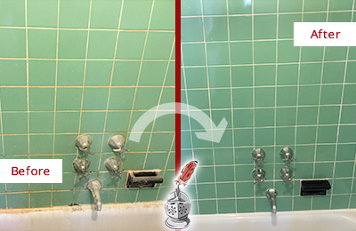 Before and After Picture of a Sammamish Bath Tub Grout Sealed to Avoid Water Damage