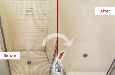 Before and After Picture of a Sammamish Bathroom Grout Sealed to Remove Mold