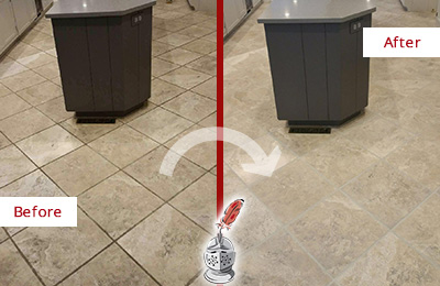 Before and After Picture of a Sammamish Kitchen Floor Grout Sealed to Remove Stains