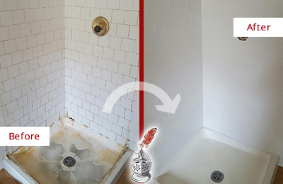 Before and After Picture of a Woodinville Shower Cleaned to Eliminate Mold