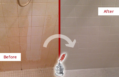 Before and After Picture of a Woodinville Porcelaine Shower Cleaned to Remove Soap Scum